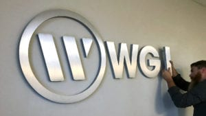 WGI logo sign installation